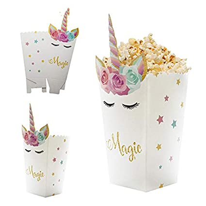 Amazon Com Xlpd 6pcs Diy Unicorn Theme Popcorn Boxes Birthday Party