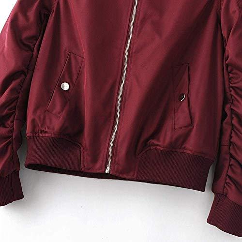 Monocromo Pilot Corto Bomber Vita Con Collo Ragazza Biker Autunno Moda Lunga Manica Donna Coreana Cappotto Alta Cerniera Elegante Jacket Coat Giacca Rot qwRF0pa0