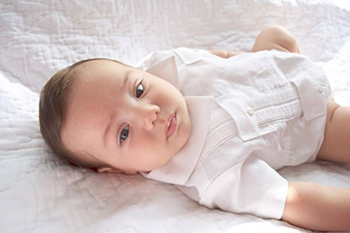 GUAYABERASCUBANAS Guayabera Babies. Infant Romper Linen. Perfect Cubanito Gift (3-6, ()