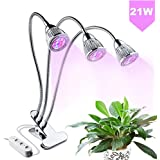 Plant Grows Lamp Indoor 21W LED Plant Growing Desk Lights Triple Heads with 360 Degree Flexible Gooseneck for Hydroponics Garden Tent or Home,Office Potted