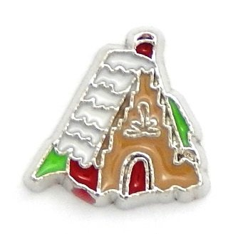 Cherityne Christmas Gingerbread Cottage House Floating Charm for Locket Pendants ()