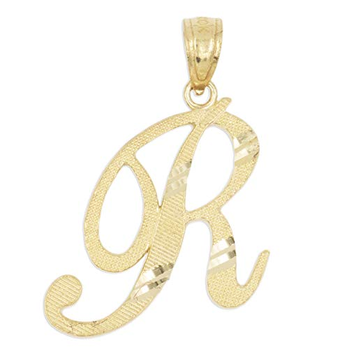 (Ice on Fire Jewelry 14k Solid Real Gold Cursive Initial Pendant, English Alpahbet A-Z Letter Charm with Diamond Cut)