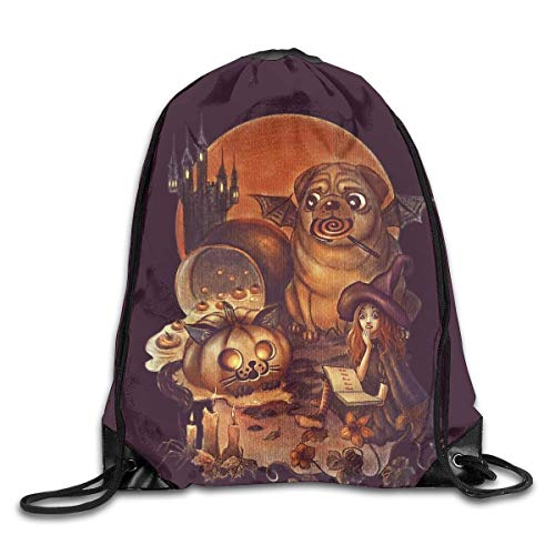 CHJOO Drawstring Backpack Drawstring Sports Backpack Bags Gym Bag Sack Party Favor Bag Overnight Bag For Unisex - Unlucky Halloween Black Magic Witch Pumpkin Pug -