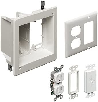 Amazon Com Arlington Tvbr505k 1 Tv Box Recessed Kit With Outlet And Wall Plates 2 Gang White 1 Pack Home Improvement