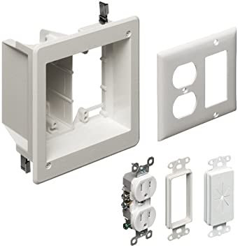 arlington tvbr505k1 tv box recessed kit with outlet and wall plates 2