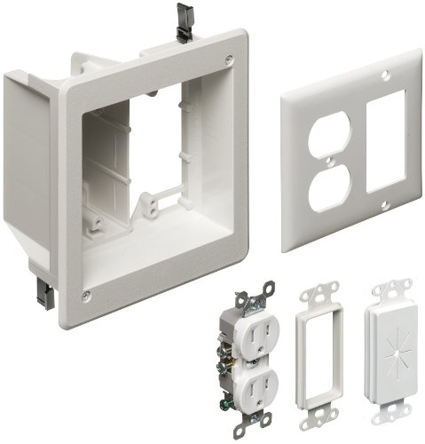 Arlington TVBR505K-1 TV Box Recessed Kit with Outlet and Wall Plates, 2-Gang, White, 1-Pack