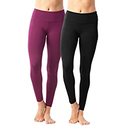 90 Degree By Reflex Womens Power Flex Yoga Pants - Black and Magenta Haze 2 Pack - XS