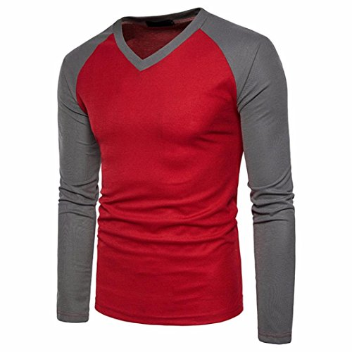 Realdo Mens V Neck T-Shirt, Casual Slim Long Sleeve Splice Patchwork Blouse Top ()