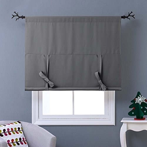 NICETOWN Thermal Insulated Blackout Curtain - Grey Tie Up Shade for Small Window, Window Valance Balloon Blind (Rod Pocket Panel, 46