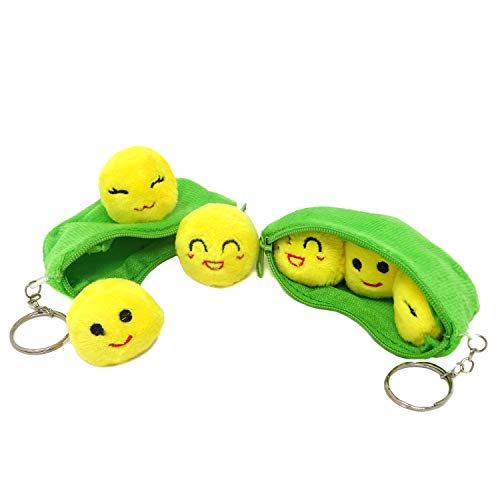 HONBAY Plush Keychains Mini Stuffed Toys - 3 Peas in a Pod - 4 Inch - 2 Set of Bean Bags with Smiling Face Yellow Peas