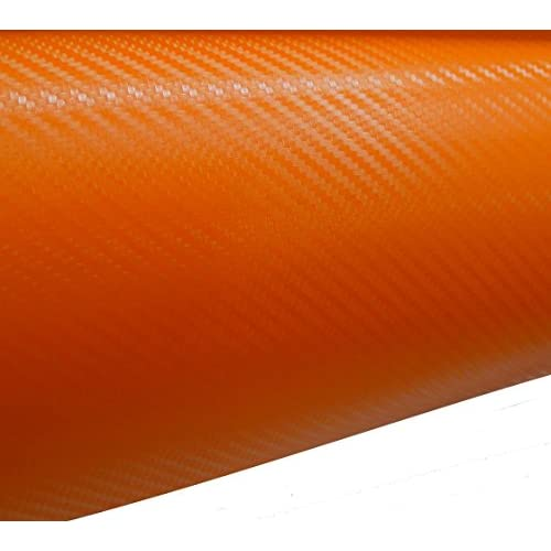 Aerzetix: 127/75cm film adhésif vinyle fibre de carbon orange thermoformable C17200