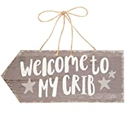 Welcome to My Crib Arrow Shaped Sign for Baby ~ Gray