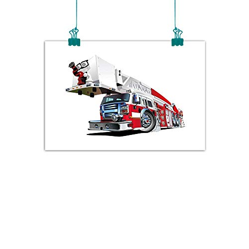 Warm Family Truck Light Luxury American Oil Painting Firetruck Speeding to Danger Illustration Emergency Services Theme 911 Cartoon Home and Everything 32