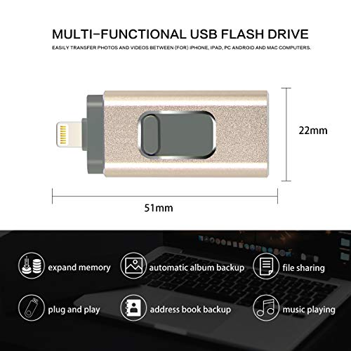 USB Flash Drive for iPhone 256GB Photo Stick USB/Micro USB/Lightning Memory Stick External Storage [3in1] Thumb Drive Compatible with iPhone/iPad/iOS/Android/Mac/PC (256GB, Gold)