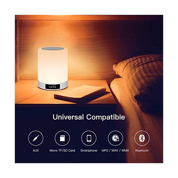 Lampe de Chevet Tacile Rechargeable Portable, Lampe de Table Enceinte Bluetooth Musique, FM Radio Réveil Lumière LED Multicolor Mains Libres pour Chambre à Coucher, Bureau, Salle de bébé Tikitaka 5