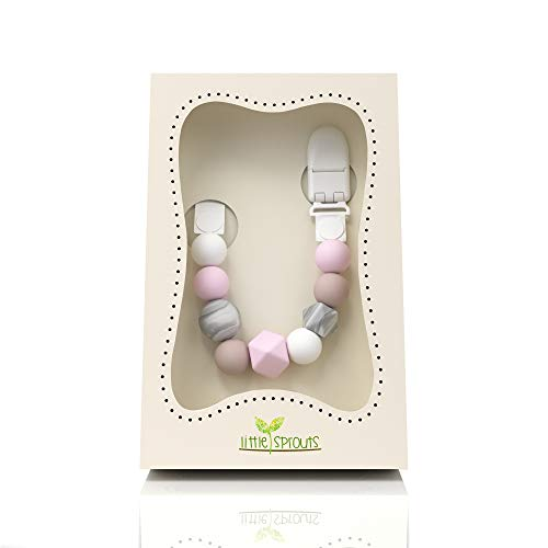 Little Sprouts Pacifier Clip | Modern & Trendy | 2 in 1 BPA Free Silicone Teether Beads with Unique Shapes | Best Pacifier Holder for Teether Toys, Stuffed Animals, Soothie/MAM & Drool Bibs for Girls