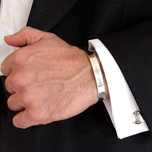 Mens Personalized Cuff Bracelet Custom Sterling Silver Cuff Anniversary Gift For Men Groomsmen Gift Mens Bracelet Mens Gift Boyfriend Gift