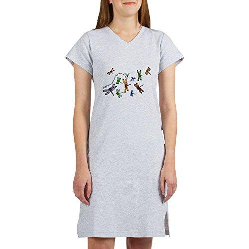 Royal Lion Women's Nightshirt (Pajamas) Dragonflies Glide on Gossamer Wings - Heather Grey, Small