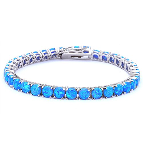 Round Solitaire Wedding Bridal Tennis Bracelet 925 Sterling Silver Created Fire Blue Opal