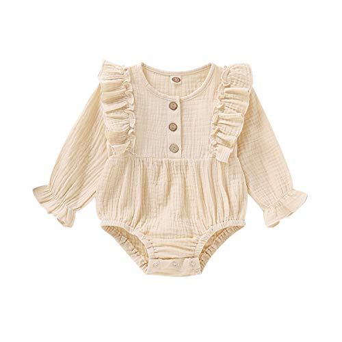Happy Town Newborn Baby Girl Cotton Linen Solid Romper Ruffle Sleeve One-Piece Bodysuit Infant Summer Outfits (3-6 Months, Beige-Long Sleeve) (3 Medium Beige Linen)