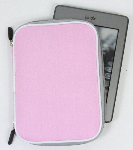 Pink Neoprene Memory Foam Sleeve Case Cover for Kindle Paperwhite, Kindle Touch Wi-Fi / 3G and Kindle // Black Friday Deals // Get a Bonus Mini Stylus Pen + EnvyDeal Velcro Cable Tie