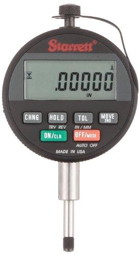 "Starrett 2720-1 Wisdom Basic LCD Electronic Indicator, 0.375"" Stem Dia., 2.28125"" Dial Dia., 0-0.6""/0-15mm Range, 0.0001""/0.002mm Graduation"