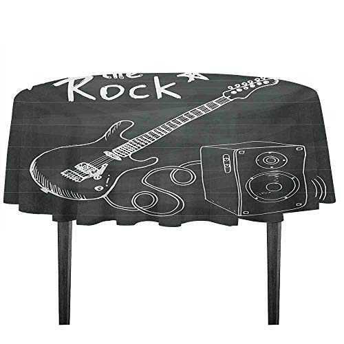 Mahogany Sound Board - kangkaishi Guitar Easy Care Leakproof and Durable Tablecloth Love The Rock Music Themed Sketch Art Sound Box and Text on Chalkboard Outdoor Picnic D51.18 Inch Charcoal Grey White