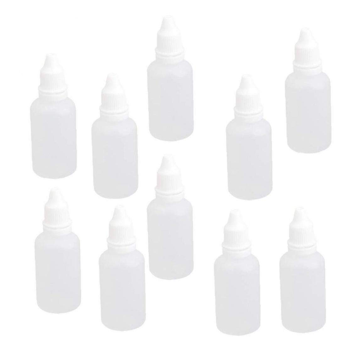 6pcs 30ml Plastic Refillable Empty Dropping Bottles With Screw Cap Dropper Vials Sample Packing Storage Holder Container White