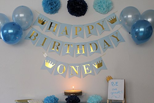 Amazon Birthday Decorations For Boys 1st Boy Blue And Gold Decorationshigh Chair Banner First Crown King Prince