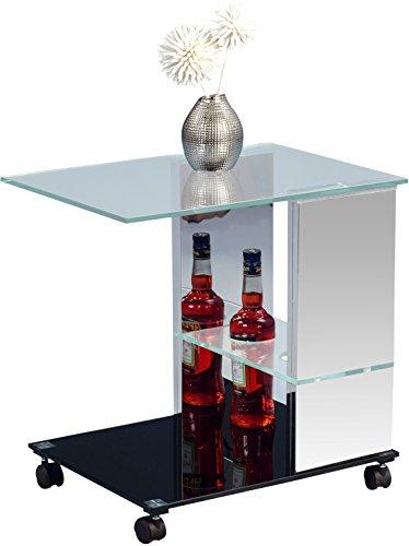 HomeTrends4You 560086 Beistelltisch, Glas, edelstahl / schwarz, 40 x 55 x 54 cm