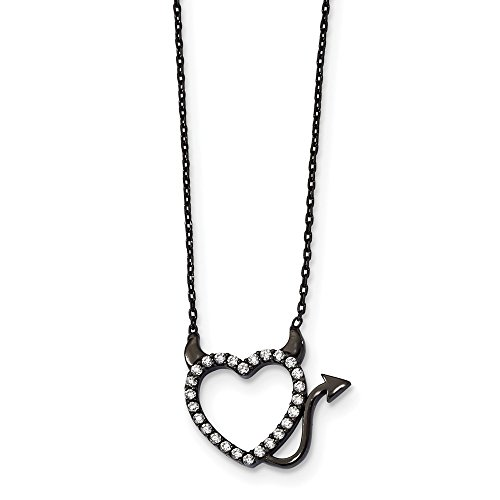 - 925 Sterling Silver Black Ruthenium Plated Devil Heart Cubic Zirconia Cz 16 Inch Chain Necklace Pendant Charm S/love Fine Jewelry Gifts For Women For Her