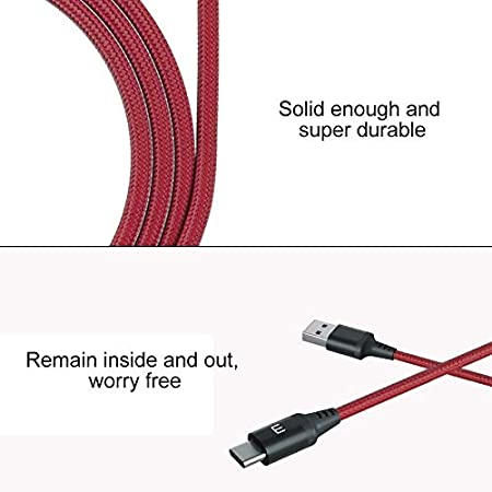 Red Color : Red WMD AYS 1.2m 3A Weave Style Metal Head USB-C//Type-C to USB 2.0 Data Sync Charging Cable