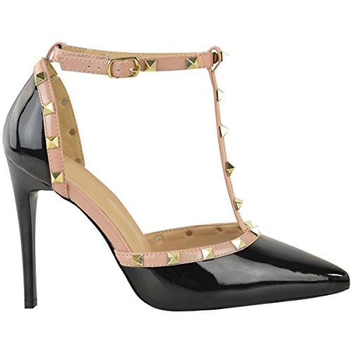 Borchie Con Cinturino Alla Caviglia Con Tacco Medio Tempestato Di Tacco Medio Da Donna Alla Moda