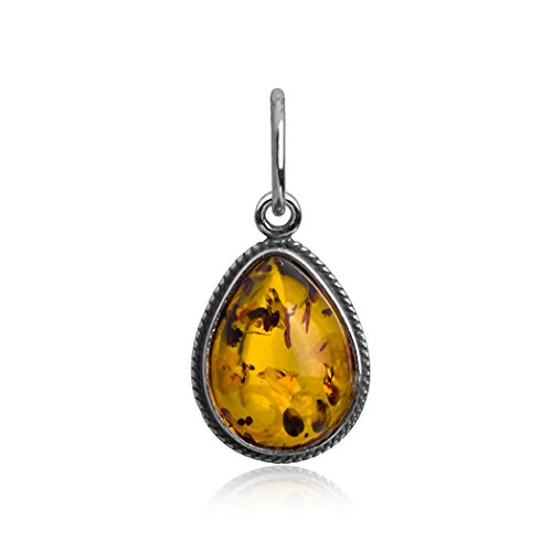 Sterling Silver Amber Drop Small Charm (Amber Charms)