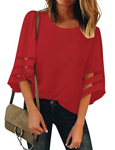 (Luyeess Women's Casual Crew Neck Loose Mesh Panel Chiffon 3/4 Bell Sleeve Blouse Top Shirt Tee Red, Size S(US 4-6))