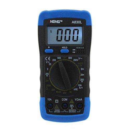 LtrottedJ ANENE A830L Digital Voltmeter, Ammeter Ohmmeter Multimeter, Volt AC DC Tester Mete (Black) - Wire Piercing Test Lead Adapters
