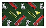 Hook and Ladder Fire Engine Green Multi - 2'x3' Custom Stainmaster Premium Nylon Carpet Area Rug ~ Bound Finished Edges