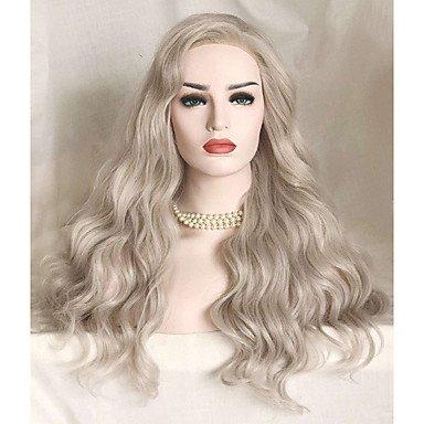 Peluca sintética de encaje frontal largo ondulado plateado natural para disfraz de peluca Chu Uniwigs