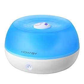 Homasy 800ml Ultrasonic Cool Mist Humidifier, One Touch Button Control, Auto Shut off Function for Office Home Bedroom Yoga Spa