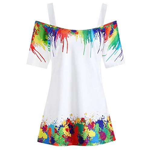 (2019 Women Plus Size Tie-Dye Printed Cold Shoulder Blouse Sling Casual Short Sleeve T-Shirt Tunic Tops Nmch(White,XXXXXL))