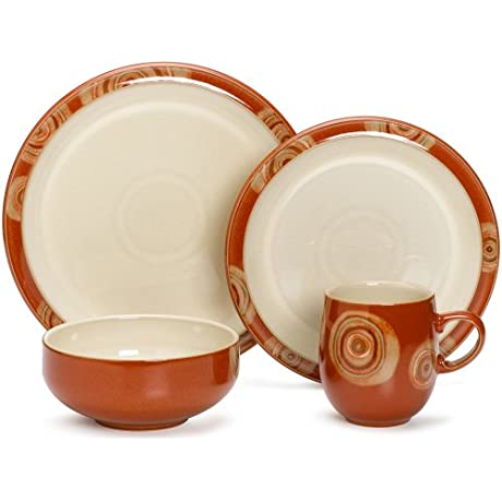 Denby Fire Chilli 4 Piece Place Setting Service For 1