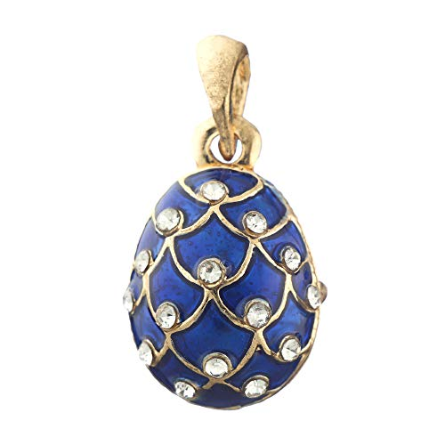 - danila-souvenirs Russian Faberge Style Egg Pendant/Charm Pinecone with Crystals 0.8'' Blue #6401-11