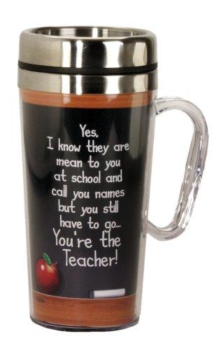 Spoontiques Teacher Insulated Travel Mug, Black