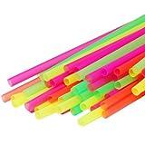 "120ct Large Milkshake / Smoothie / Slush Straws, Disposable Jumbo Extra Wide Thick Long Plastic Drinking Straw, Assorted Colors, 9""x.4"" (120)"