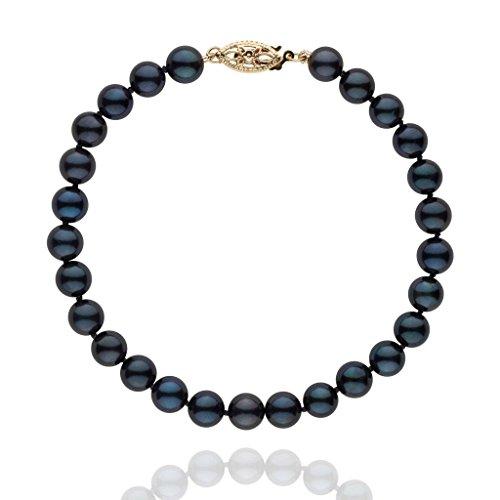 6.0-6.5 mm Black Akoya AA+ Cultured Pearl Bracelet 14K Yellow Gold/7.25-inch (American Bracelet Pearl Pearl)