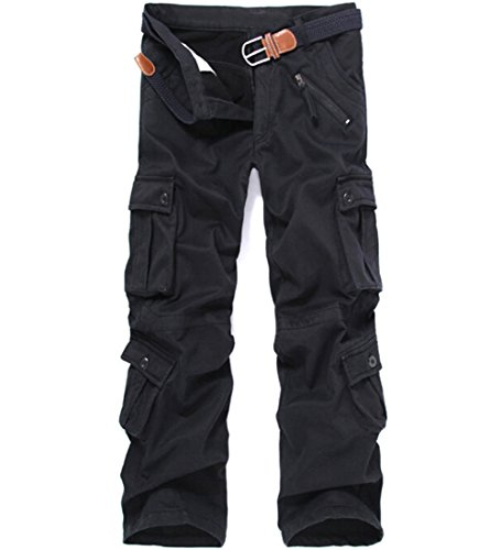 CRAZY Men's Winter Fleece Lined Military Cargo Pants Casual Outdoor Pants Black (Cargo Loose Straight Pant)