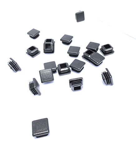 (1 Inch Square Tubing End Caps (20 PK) (10-14 Gauge For Thicker Wall Tubing) Plastic Plugs/End Caps/Plastic End Caps/Plastic Plugs For Square Tubing/Black Plastic Square)