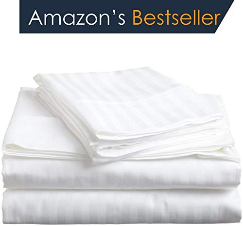 (Deal of the Day Luxurious 6-Piece Sheet Set ( 1 Fitted, 1 Flat, 4 Pillow ) Super Soft 600-TC Egyptian Cotton Fits 15