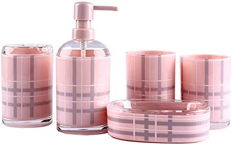 FXin バスルームアクセサリー、ホームヨーロッパプレキシガラス素材5つの創造的なバスルームトイレタリーのバスルームセット シャワー室 (Color : Pink)