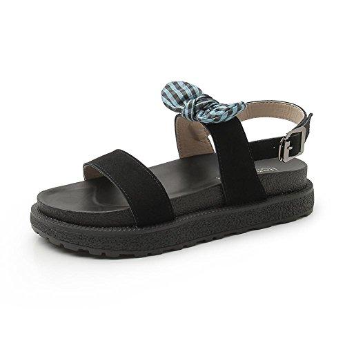KJJDE Sandalias Mujer Zapatilla Chanclas hah-F-8 Pajarita y Hebilla de Cinturón Confort Peep Toe Tacón Zapatos Para Caminar Green